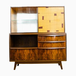 Vintage Glass and Veneer Cabinet by Bohumil Landsman for Jitona, 1960s