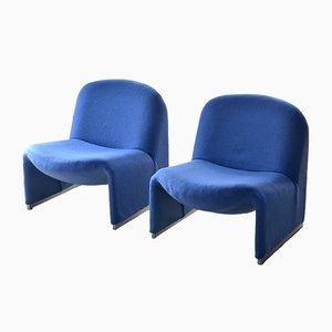 Blaue Vintage Sessel von Giancarlo Piretti für Castelli, 1960er, 2er Set