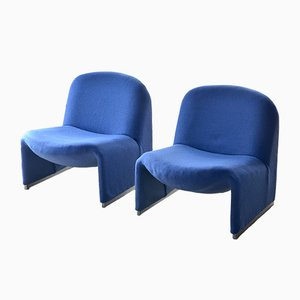 Vintage Blue Lounge Chairs by Giancarlo Piretti for Castelli, 1960s, Set of 2