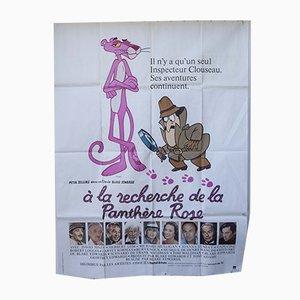 Pinkfarbener Vintage Panther Filmposter, 1980er