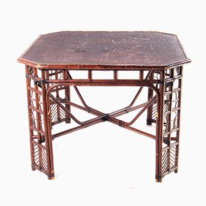 Large Handcrafted Italian Rattan & Bamboo Table, 1950s