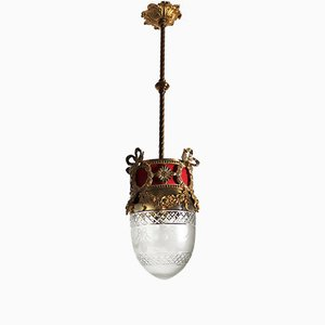 Lámpara de techo Art Déco de bronce, años 30