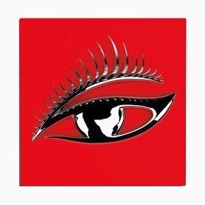 Panel mural en rojo y plateado con ojo en 3D de VGnewtrend