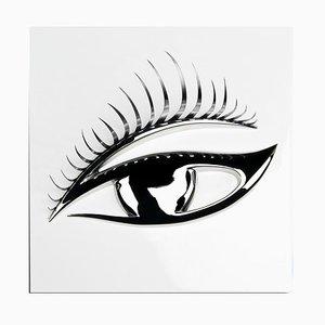 Panel mural en blanco y plateado con ojo en 3D de VGnewtrend