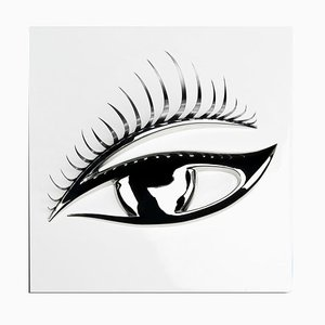 White & Silver Wall Panel with 3D Eye from VGnewtrend