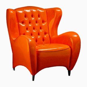 Fauteuil Schinke en Cuir Écologique Brillant Orange par Giorgio Tesi pour VGnewtrend