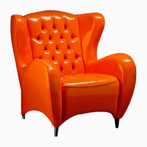 Orange Glossy Eco-Leather Schinke Armchair by Giorgio Tesi for Vgnewtrend