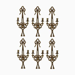 Vintage French Gilt Wood Sconces, 1940s, Set of 6
