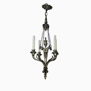 Antique French Silver-Plated 4-Arm Chandelier