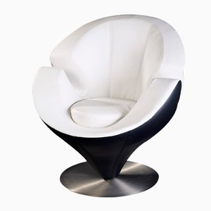 Black and White Eco-Leather Calla Armchair from Vgnewtrend