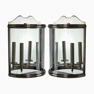 Vintage Silver-Plated Demilune Wall Lanterns, 1950s, Set of 2