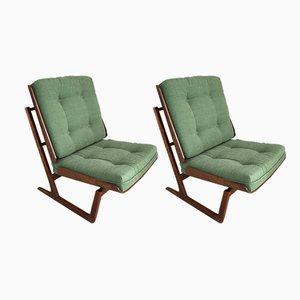 Sessel mit Gestell aus Mahagoni von Grete Jalk, 1950er, 2er Set