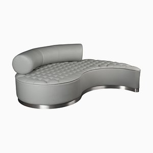 Grey Leather Marilen Capitonné Lounge Sofa from VGnewtrend