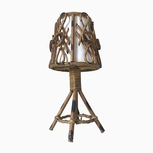 Lámpara de mesa vintage de ratán, años 60