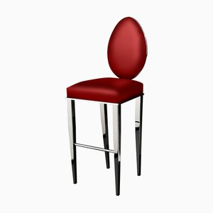 Red Leather New Vovo Stool from VGnewtrend