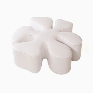 Glossy White Eco-Leather Margaret Pouf from VGnewtrend