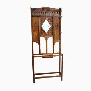 Französische Mid-Century Garderobe aus Holz mit Spiegel, 1940er