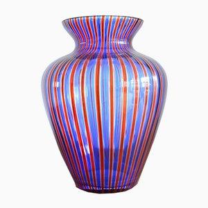 Jarrón vintage de cristal de Murano azul y rojo, años 70