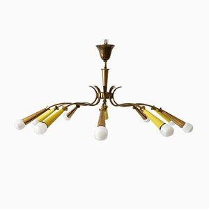 Mid-Century Sputnik Brass Ceiling Lamp, 1950s