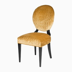 Gold Acropolis Fabric Sophia Chair on Black Legs from Vgnewtrend