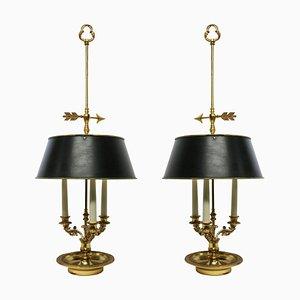 Mid-Century French Brass Table Lamps with Candle Holders, 1950s, Set of 2