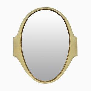 Vintage Italian Parchment Golden Mirror, 1940s