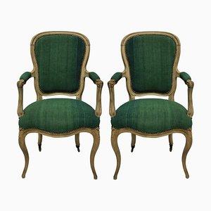 Antike französische Armlehnstühle aus Holz mit grünem Leinenbezug, 2er Set