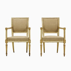 Antike italienische Stühle mit vergoldetem & gestrichenem Gestell, 2er Set