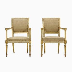 Sillas italianas antiguas pintadas en blanco y dorado. Juego de 2