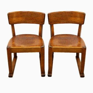 Swiss Children's Solid Wood Chairs, 1950s, Set of 2