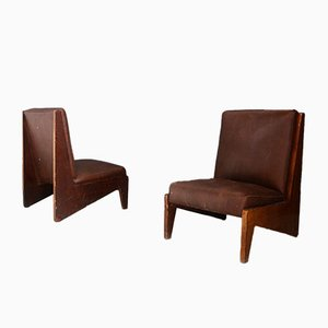 Mid-Century Italian Walnut and Leather Lounge Chairs, Set of 2