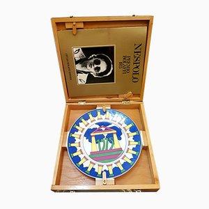 Assiette Récompense Bolaffi en Céramique Peinte par Ugo Nespolo, 1975