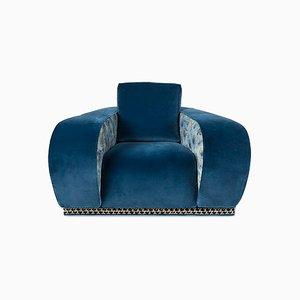 Fauteuil Napoli Eticaliving en Velours Bleu par Slow+Fashion+Design pour VGnewtrend