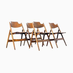 Mid-Century Plywood Folding Chairs by Egon Eiermann, 1950s, Set of 4