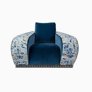 Fauteuil Eticaliving Firenze en Velours Bleu par Slow+Fashion+Design pour VGnewtrend
