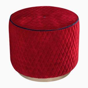 Puf Kidman de terciopelo rojo con ribetes azules de Vgnewtrend