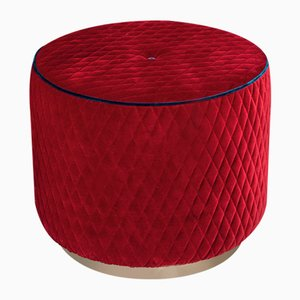 Red Quilted Velvet Kidman Pouf with Blue Piping from Vgnewtrend