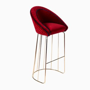 Red Noble Quilted Velvet Bay Stool with Blue Piping from Vgnewtrend