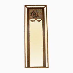 Espejo antiguo grande de madera dorada con pintura al óleo
