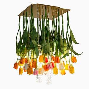 Flower Power Deckenlampe aus Muranoglas & künstlichen Tulpen von Vgnewtrend