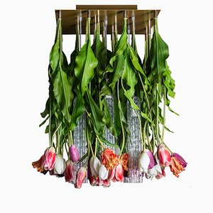 Flower Power Ceiling Lamp with Murano Glass & Artificial Tulips from Vgnewtrend