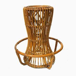 Taburete vintage de ratán y bambú de Tito Agnoli para Pierantonio Bonacina, años 60