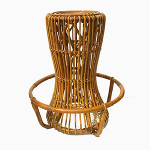Vintage Rattan and Bamboo Stool by Tito Agnoli for Pierantonio Bonacina, 1960s