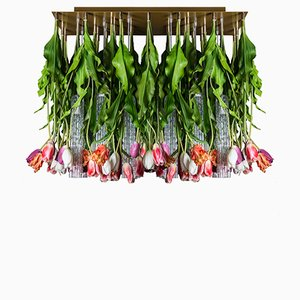 Grand Plafonnier Flower Power avec Verre de Murano & Tulipes Artificielles de Vgnewtrend