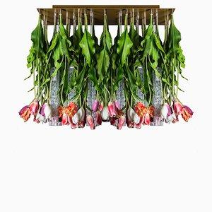 Große Flower Power Deckenlampe mit Behang aus Muranoglas & Kunsttulpen von Vgnewtrend