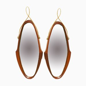 Mid-Century Danish Teak Mirrors, 1950s, Set of 2