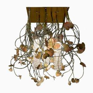 Große Flower Power Deckenlampe aus Muranoglas & Kunstblumen von Vgnewtrend
