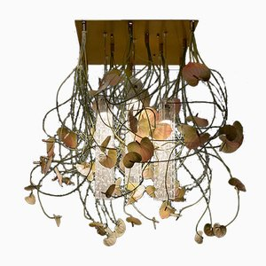 Große Flower Power Deckenlampe mit Behang aus Muranoglas & künstlichen Flamingoblumen von Vgnewtrend