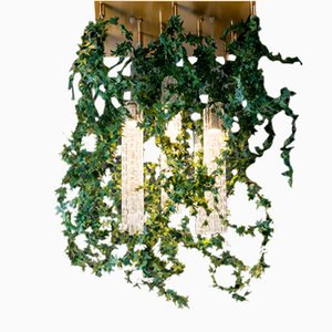 Flower Power Deckenlampe mit Behang aus Muranoglas & künstlichem Efeu von Vgnewtrend