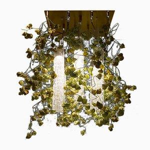 Flower Power Kronleuchter aus Muranoglas & mit Dekoration in Physalis-Optik von VGnewtrend